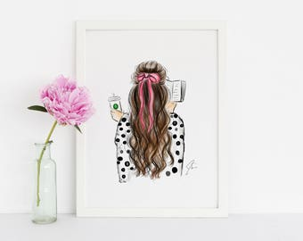 Bows and Books (Fashion Illustration Print) (Fashion Illustration Art - Fashion Sketch prints - Home Decor - Wall Decor )