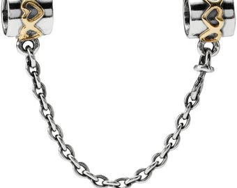 Sterling Silver (.925) Gold Heart Safety Chain Fits All European Bracelets or Necklaces