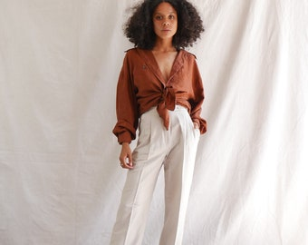 Vintage silk blouse - 90s minimalist silk blouse - rustic brown silk shirt - long sleeve button up - oversized slouchy silk top