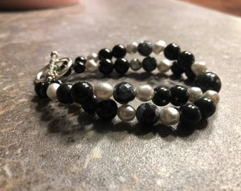 Double Strand Obsidian Beaded Bracelet