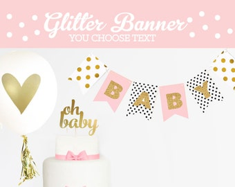 Glitter Baby Shower Decorations - Baby Girl Banner - Its a Girl Baby Shower Banner - Pink Baby Shower Decor Baby Banner (EB3062)