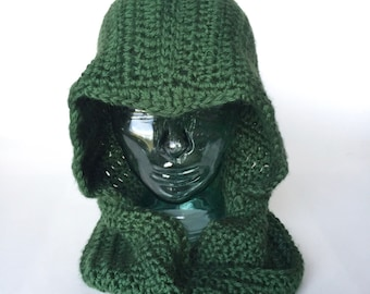 Sarcastic Archer hooded cowl, handmade crochet || Child, Adult || Made to Order