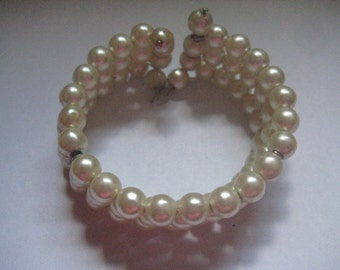 3 Strand Coiled Faux Pearl Cream Colored 60s or 70s Bracelet