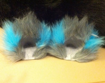 Grey and Teal Cheshire Movie Fuzzy Kitty Cat Ear Clips With or Without Tail / Anime Cosplay Alice in Wonderland Kitty Ears