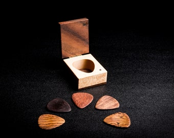 Wooden guitar picks (5) with wooden box, Father's Day gift for musician, guitarist, him, her
