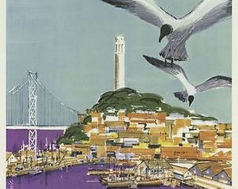 American Airlines Flights To San Francisco Fishermans Wharf Poster A3 Reprint