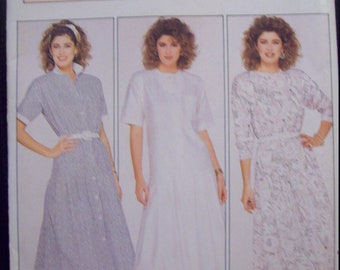 1980s Dropped Waist Dress Butterick Pattern 4702 The Family Circle Collection Size 14 Uncut Factory Fold