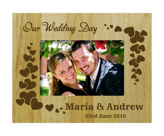 Personalized Wedding Frames, Wood Engraved Picture Frame, Rustic ...