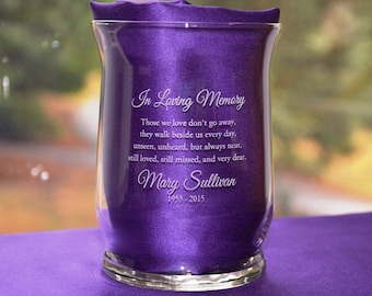 Personalized Engraved Memorial Glass Hurricane Candle Holder/Vase, Remembrance Sympathy Candle, Celebration of Life (#35)