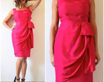 Vintage 60s Watermelon Red Silk Sarong Wiggle Dress (size xxs, xs)