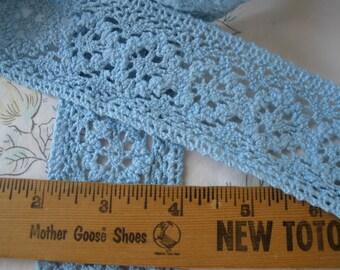 "Deep Sky Blue Crochet Cotton Lace trim 2"" wide edging insert embellish retro choose yardage cluny hippie boho floral"