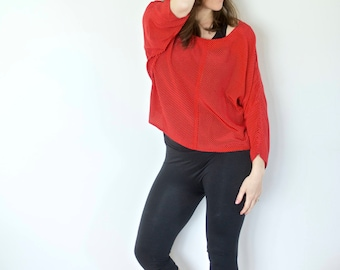 Vintage Silk Crop Top | Red with White Dots
