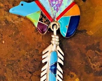 Native American Sterling Silver Zuni Bear Pendant.Comes with silver chain