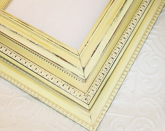 Frame Set Yellow Three 8x10 Vintage Hand Painted & Distressed