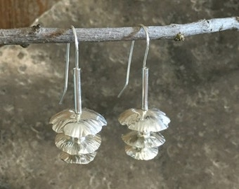 Sterling Silver Flower Earrings Triple Petal Dangles Hand Crafted with Argentium Silver Hand Formed Ear Wires