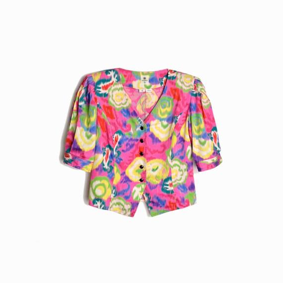 Vintage 80s/90s Ungaro Ter Floral Top / Pink Ikat Floral Jacket Top / Multi-Color - women's IT 42/ US 8