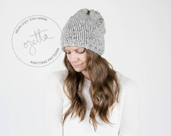 Knitting Pattern / Simple Knit Slouchy Hat / THE NORTHWOOD Hat