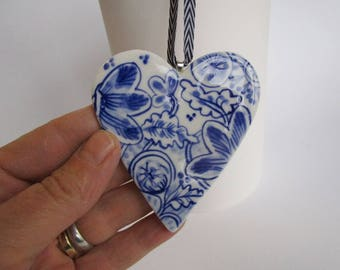 Porcelain  Heart -  Blue and white Delft Blue Wall hanging/ornament-  Mother's Day