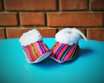 Booties for 1-2 year old - Handmade w Andean Fabric