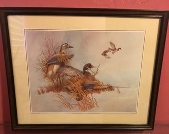 Vintage Charles E Murphy  Four Mallard Duck By Charles E Murphy 1985 Lithograph Signed