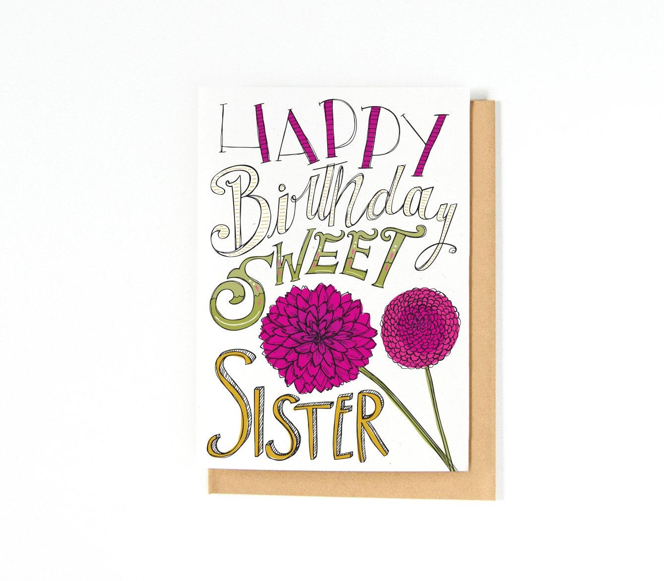 Sister birthday card happy birthday card hand drawn zoom kristyandbryce Choice Image