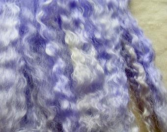 Long combed mohair wool locks long purple dolls hair wavy locks