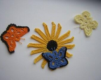 """three butterflies and """"rudbeckia"""" crochet flower"""