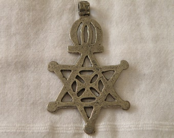 Antique Sterling Silver Crown on Star and Center Cross Pendant