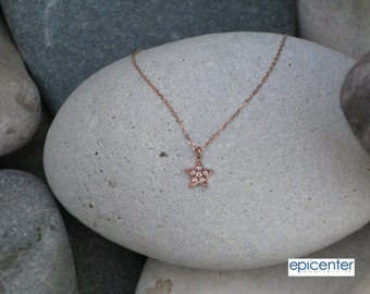 25% off 9kt Solid Rose Gold Star Necklace,Pendant with Chain,Tiny Star Charm Necklace,Bridesmaid Gifts Necklace