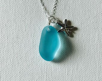 Blue Sea Glass Silver Wire Wrapped Necklace Wth Silver Starfish Charm