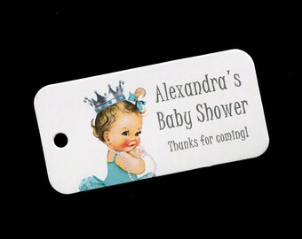 Baby Shower Favor Tags - Princess - Baby Girl Favor Tags - Personalized - Aqua - Turqouise - Baby Girl Shower - Gift Tags - Thank You Tags