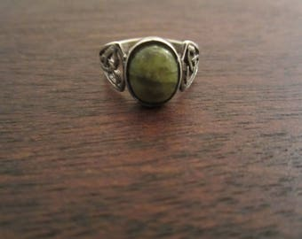 Lovely Irish Moss Agate and Sterling Silver Ring-Size 5.5-FREE SHIPPING (US)