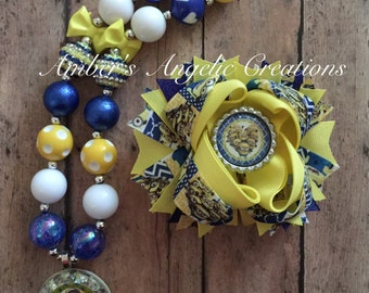 Minion Inspired Bow With Matching Necklace