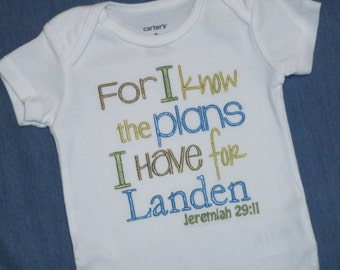 Bible verse Baby Boy bodysuit  - Jeremiah 29:11 - For I know the plans I have for you
