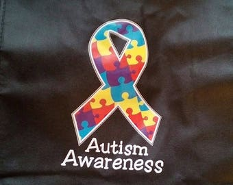 Free shipping Autism awareness reusable shopping bag