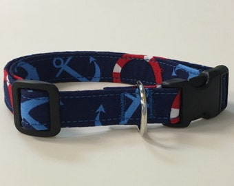 Adjustable Red, White and Blue Anchor/Life Preserver Print Dog Collar
