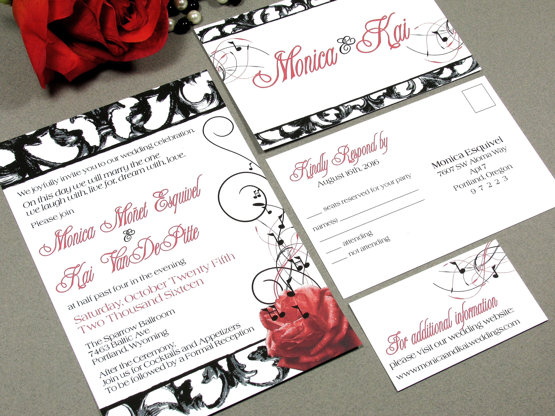 Vintage Hollywood Wedding Invitations Black and Red Wedding