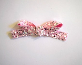 Crushed Pink Ice Glitter LARGE Bow Clip Adorable Photo Prop for Newborn Baby Little Girl Child Adult Pretty Pink Valentines Day Easter Bow