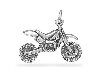 Sterling Silver Dirt Bike Motorcycle Charm Pendant 3D Motocross Extreme Sport
