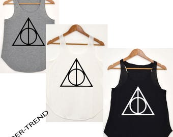 harry potter DEATHLY HOLLOWS TRIANGLE inspired vest/tank-top premium quality