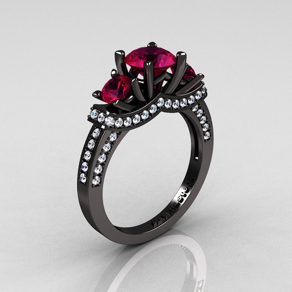 French 14K Black Gold Three Stone Raspberry Red Garnet Diamond