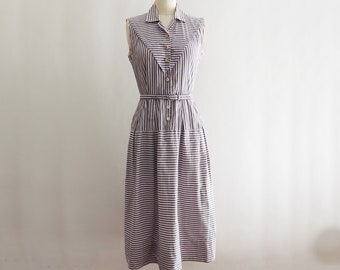 1940's Gray and Prink Striped Cotton Day Dress // Vintage Joyce Hubrite Dress // Fit and Flare // Vintage Striped Shirt Dress // Size Small