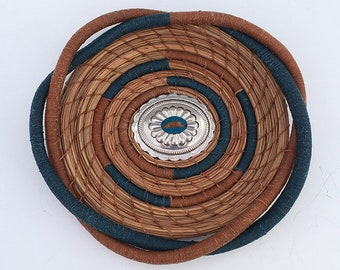 Teal and Honey Colored Pine Needle Basket Concho Center- Item 828 by Susan Ashley