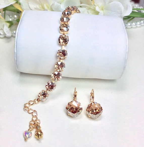 Swarovski Crystal 8.5mm Bracelet & 12mm Earring Set - Radiant Golden Shadow (set in Gold Overlay) -  Designer Inspired - FREE SHIPPING