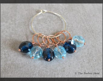 Stitch Markers, Snag Free, Copper, Blue, Size 10 Needle
