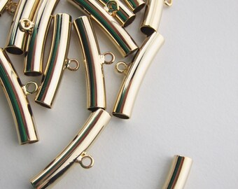 Curved gold tube with loop, charm holder, leather bracelet charm holder bar, gold tube bar