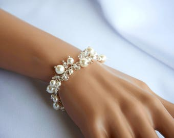 Wedding Bracelet For Bride Pearl Crystal Silver Bridal Bracelet White Swarovski Crystal