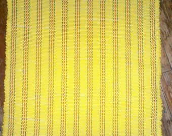 Handwoven Sunny Yellow Rag Rug w/ Navy, Red, Green Stripes - Inv. ID#04-0318