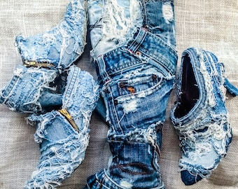 Distressed denim jean boots recycled denim jean knee high boots reworked bleached denim boots custom made denim boots handmade any occasion