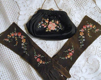 Embroidered POINT de BEAUVAIS Set, Black Kid Gloves Sz 7 & Satin Purse 8 x 6 Vintage Tambour 1950 French Handmade Lovely Easter Lady Gift